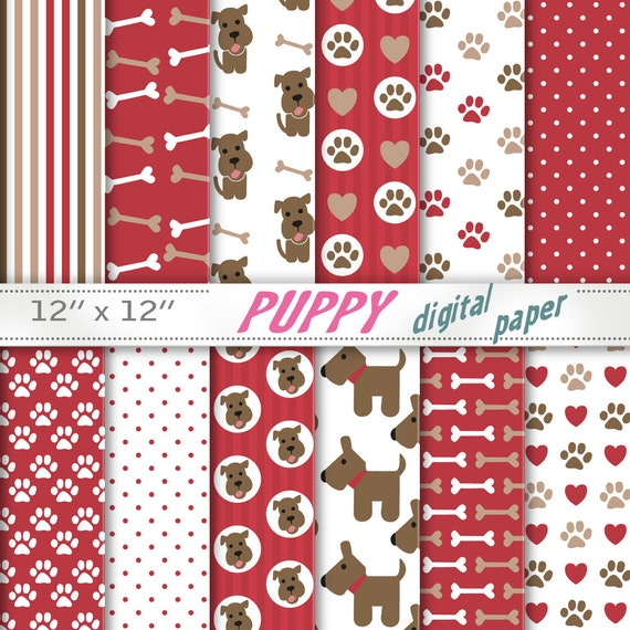 Puppy Dog Papers Paws Paper Puppy Papers Dog Backgrounds Etsy