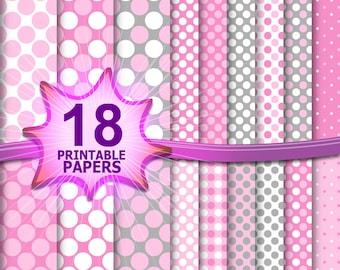 Baby girl paper, pink scrapbook paper, polka dot digital, polka dot background, polka dot scrapbook, pink grey pattern, pink wedding digital