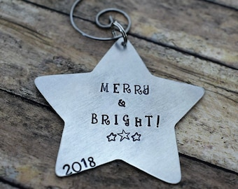 Merry and Bright Hand Stamped Star Ornament-Christmas Ornament - Personalized Ornament - Star Ornament - Handmade Ornament