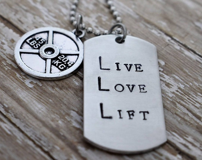 "Hand Stamped ""Live Love Lift"" Dog Tag Necklace with Weight Plate Charm *Fitness Jewelry*Motivational Jewelry*Exercise*Dumbell*Weightlifter"