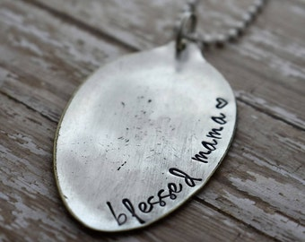 "Hand Stamped Spoon Necklace ""blessed mama"" *Upcycled Spoon**Gift For Her*Mother's Day Gift**Gift for Mom"