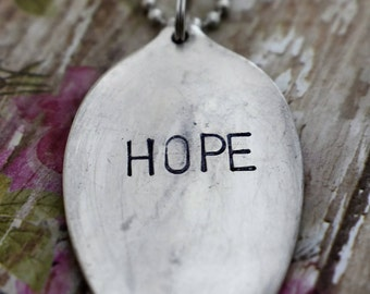 "Hand Stamped Spoon Necklace ""Hope"" *Upcycled Spoon**Gift For Her*Unique Gift*Spoon Necklace*Strong*Religious Jewelry*Cancer Survivor"