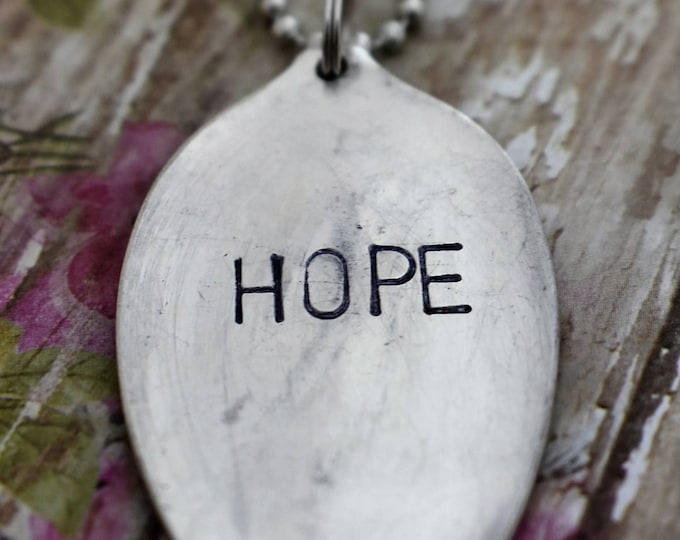 """Hand Stamped Spoon Necklace """"Hope"""" *Upcycled Spoon**Gift For Her*Unique Gift*Spoon Necklace*Strong*Religious Jewelry*Cancer Survivor"""