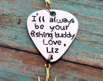 Personalized Handmade Stamped Fishing Lure - I'll Always Be Your Fishing Buddy - Father's Day*Fisherman*Personalized Lure*Father - Son Gift""