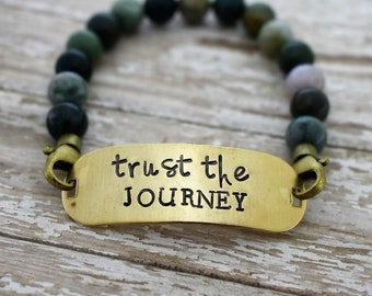 Trust The Journey Hand Stamped Beaded Bracelet - Gift for Her - Graduation Gift - Daily Mantra - Inspirational Jewelry