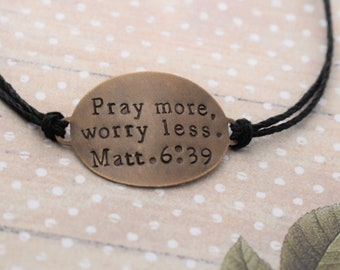 "Hand Stamped Brass ""Pray more, worry less."" on Hemp Cord Bracelet - Christian Jewelry - Faith Jewelry - Bible Verse - Matthew 6:39"