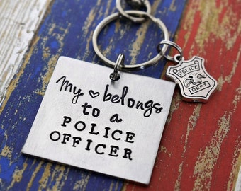 My Heart Belongs to a Police Officer Hand Stamped Keychain *Police Wife*Cop Wife*Police Officer Keychain*Police Badge