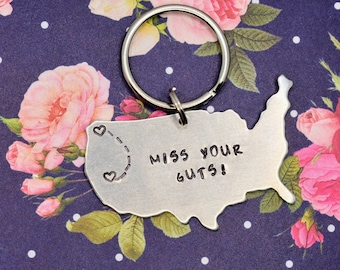 Custom Long Distance Friendship Relationship Keychain - Hand Stamped - Miss Your Guts - Best Friends Gift - Girlfriend Gift - USA Gift