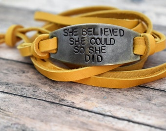 She Believed She Could So She Did Hand Stamped Brass Leather Wrap Bracelet *Gift for Her**Inspirational Gift*Graduation Gift
