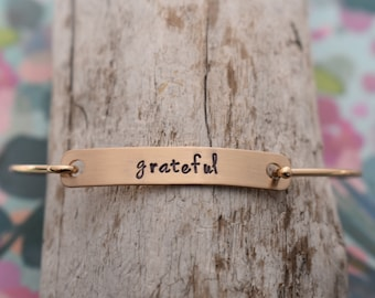 Personalized Hand Stamped Swing Clasp Bangle Bracelet - Customized Bracelet - Bangle - Gift For Her - Bridesmaid Gifts - Mother's Day Gift