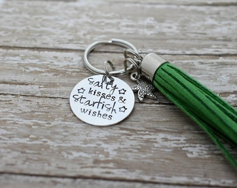 Salty Kisses & Starfish Wishes Hand Stamped Keychain with Starfish Charm and Green Tassel *Starfish Charm*Beach Keychain*Beach Lover*