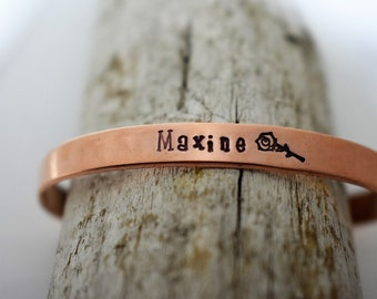 Custom Name Hand Stamped Cuff Bracelet - Personalized Name Bracelet - Name Jewelry - Gift for Mom - Gift for Her