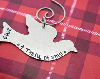 A Thrill of Hope Dove Ornament - Christmas Ornament - Dove Ornament  - Handmade Ornament