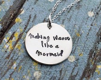 Making Waves Like A Mermaid -Hand Stamped Necklace- Sterling Silver Necklace - Mermaid Jewelry - Mermaid