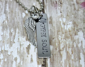 "Hand Stamped ""Gypsy Soul"" Necklace with Angel Wing and Rhinestone Charm on Ball Chain Necklace"