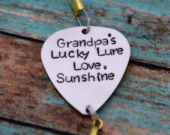 "Handmade Stamped Fishing Lure - ""Grandpa's Lucky Lure"" - Father's Day*Fisherman*Personalized Lure*Gift for Grandpa*"