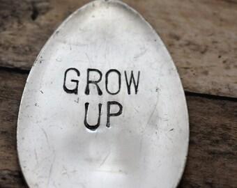 Hand Stamped Garden Spoon - Grow Up - Garden Marker-Silver Spoon-Plant Markers-Funny Garden Marker