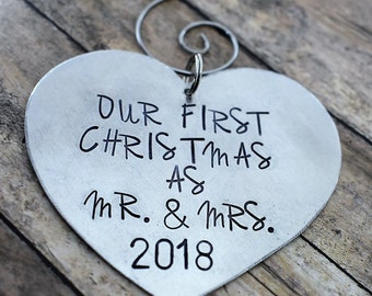 Our First Christmas as Mr and Mrs Ornament - Personalized Ornament - Heart Ornament - Handmade Ornament - Wedding Gift - Just Married