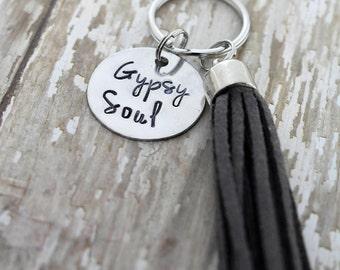 Gypsy Soul Hand Stamped Keychain with Tassel *Inspirational*Tassel Keychain*Daily Mantra*Best Friend Gift*