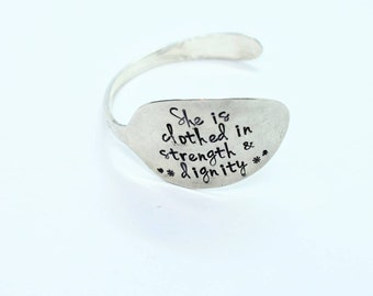 Hand Stamped Vintage Silver Plated Spoon Bracelet Bangle - She Is Clothed In Strength and Dignity