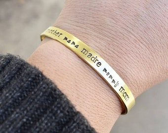Mother Mama Madre Mommy Mom Hand Stamped Metal Cuff Bracelet -Personalized Jewelry-Gift For Her-Mother's Day-Gift for Mom