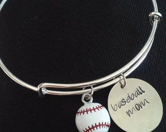 Expandable Charm Bangle Bracelet with Baseball Mom and Baseball Charms*Hand Stamped**Charm Bracelet**Bangle Bracelet**Baseball Mom*