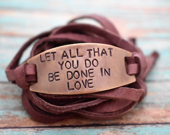 "Hand Stamped Brass ""Let All That You Do Be Done In Love"" 1 Corinthians 16:14 Leather Wrap Bracelet**Hand Stamped Jewelry*Christian Jewelry*"