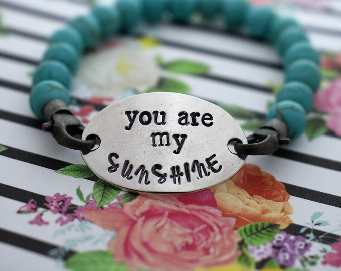 You Are My Sunshine Hand Stamped Beaded Bracelet - Mother's Day Gift*Mother/Daughter Gift*Gift For Her*Gift for Mom*