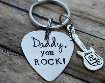"Guitar Pick Keychain ""Daddy ,You Rock!"" *Father's Day*Birthday*Gift for Dad*Music Lover*Musician*Guitar Player*Gift for Him*"