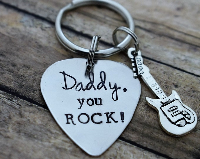 """Guitar Pick Keychain """"Daddy ,You Rock!"""" *Father's Day*Birthday*Gift for Dad*Music Lover*Musician*Guitar Player*Gift for Him*"""