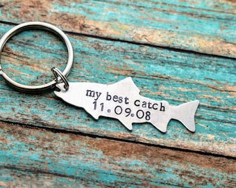 My Best Catch Hand Stamped Fish Keychain - Father's Day - Anniversary Gift for Him - Fisherman Gift - Valentine's Gift for Him