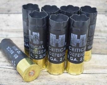 Shotgun Shells Lot of 8 - Black/Brass Hornady 12 gauge Empty Shotgun Shells