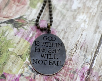 "Hand Stamped Brass ""God Is Within Her She Will Not Fail"" on Brass Ball Chain *Psalm 45:6*Inspirational Jewelry*Christian Jewelry*"