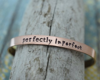 Perfectly Imperfect Hand Stamped Cuff Bracelet *Christian Jewelry*Faith*Christian Bracelet*Inspirational Jewelry*