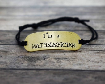 "Hand Stamped Brass ""I'm a Mathmagician"" on Hemp Cord Bracelet *Teacher Gift* *Math Teacher**Teacher Appreciation Gift"