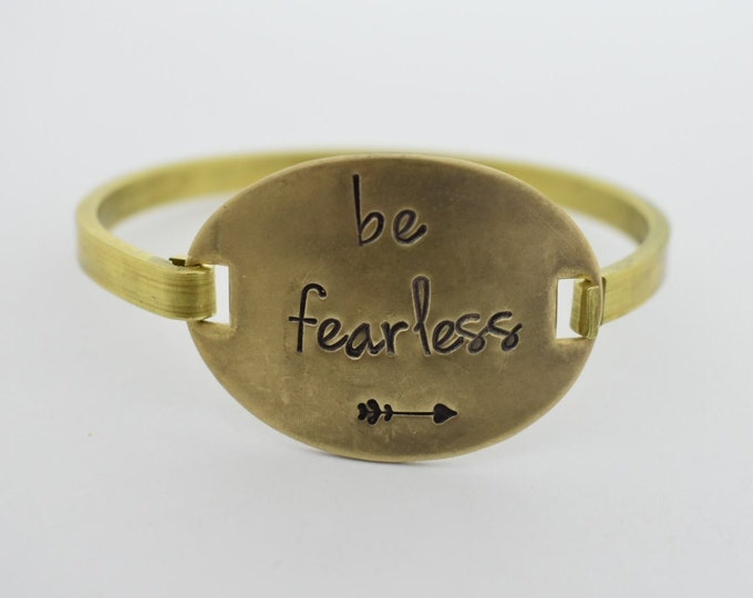 Be Fearless - Hand Stamped - Swing Top Bracelet - Inspirational - Gift for Her - Hand Stamped Bracelet