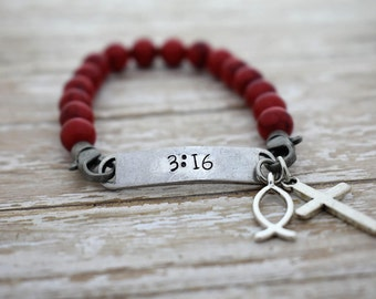 Hand Stamped 3:16 on Beaded Elastic Bracelet - For God so loved the world -  *Christian Jewelry*John 3 16*Cross Charm*Fish Charm*