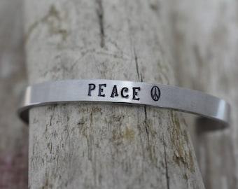 Peace Hand Stamped Cuff Bracelet - Peace Sign - Inspirational Bracelet - Peace Bangle Bracelet