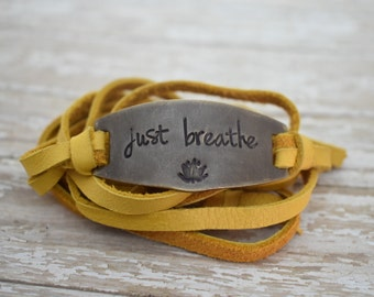 Hand Stamped Brass - Just Breathe - Lotus Flower - Leather Wrap Bracelet *Inspirational Jewelry*Daily Mantra