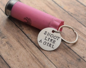 "Pink Shotgun Shell Keychain with Hand Stamped ""Shoot Like A Girl"" Charm *Gift for Her*Hunter Gift*"