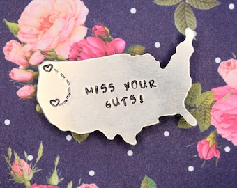 Custom Long Distance Friendship Relationship Magnet - Hand Stamped - Miss Your Guts - Best Friends Gift - Girlfriend Gift - USA Gift