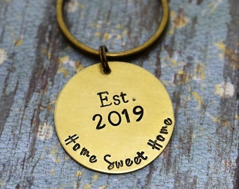 Home Sweet Home Keychain - Hand Stamped - New Home Keychain - First Time Home Buyer  - New Home Owner - Realtor Gift
