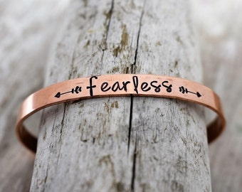 Fearless Hand Stamped Cuff Bracelet - Inspirational Jewelry - Encouragement Jewelry - Mantra Jewelry