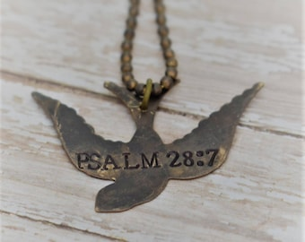 "Hand Stamped ""Psalm 28:7"" (The Lord is my strength & shield..)on Brass Song Bird with Brass Ball Chain *Necklace* *Christian Jewelry*Faith*"