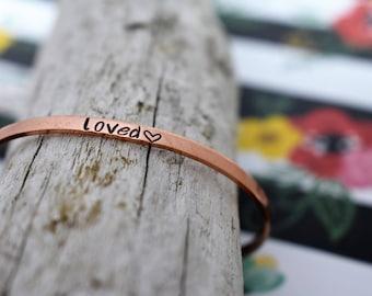 Custom Hand Stamped Copper or Aluminum Bracelet *Personalized Bracelet**Unisex**Gift**Handmade