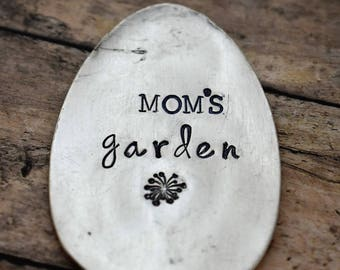 Mom's Garden - Hand Stamped Garden Spoon - Garden Marker-Silver Spoon-Plant Markers-Funny Garden Marker-Gardener-Gift for Mom-Mother's Day