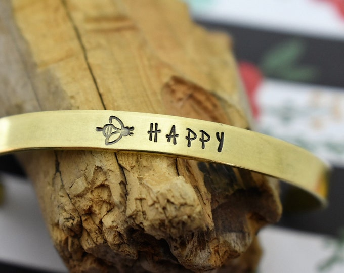 Bee Happy Hand Stamped Cuff Bracelet *Be Happy*Motivational Gift*Daily Mantra*Bee*Positive Jewelry*