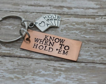 "Poker Keychain with Hand Stamped ""Know When To Hold 'Em"" and Poker Cards Charm *Poker Player*Playing Cards**Personalized Gift*"