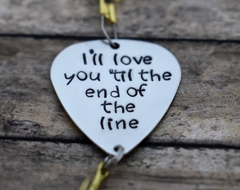 "Handmade Stamped Fishing Lure - ""I'll love you 'til the end of the line"" - Father's Day*Fisherman*Personalized Lure*Anniversary*"