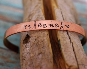 Redeemed Hand Stamped Cuff Bracelet *Christian Jewelry**Gift for Her*Inspirational Gift*Religious Jewelry*Christian Gift*